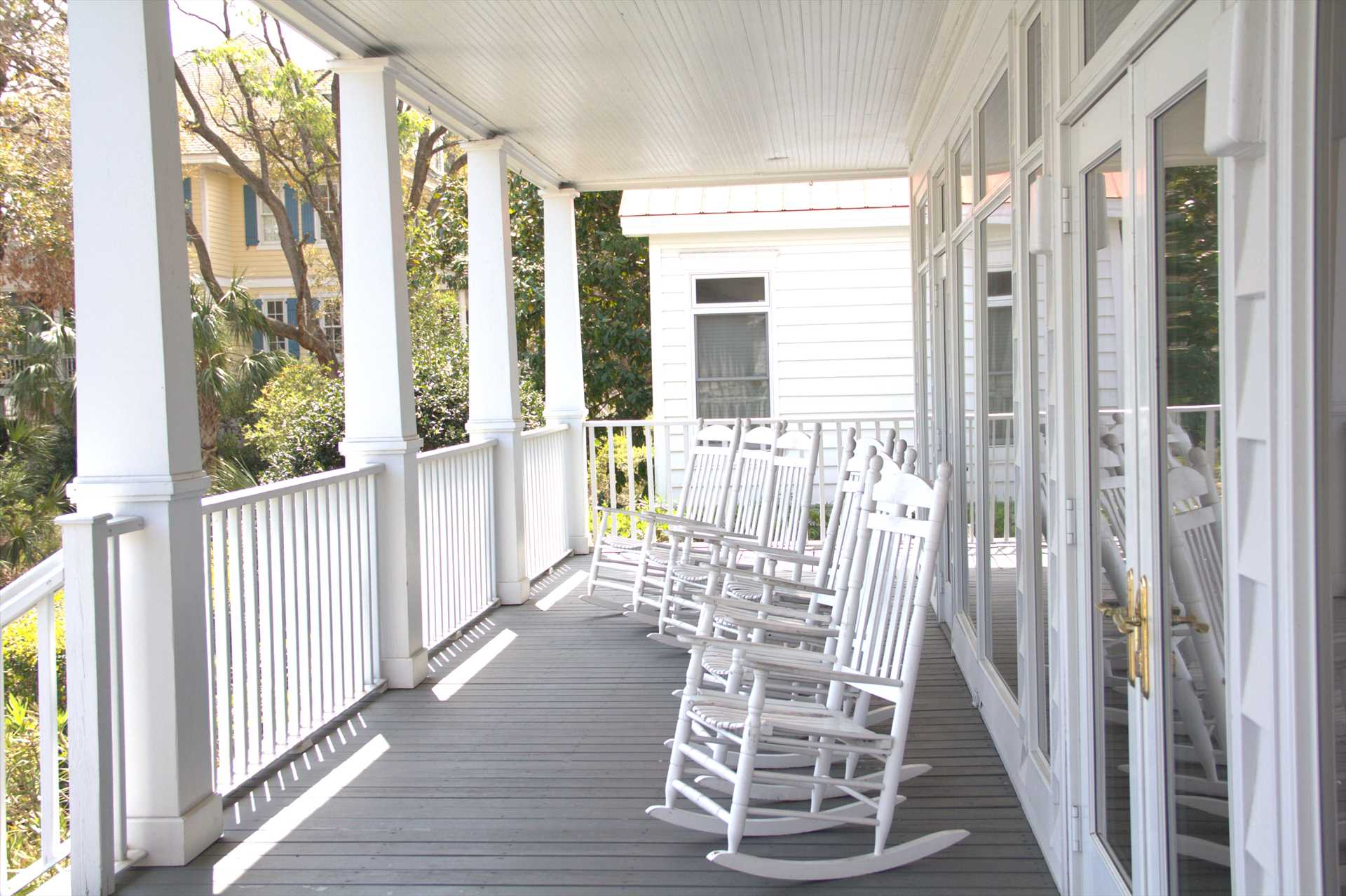 The back porch with rocking chairs