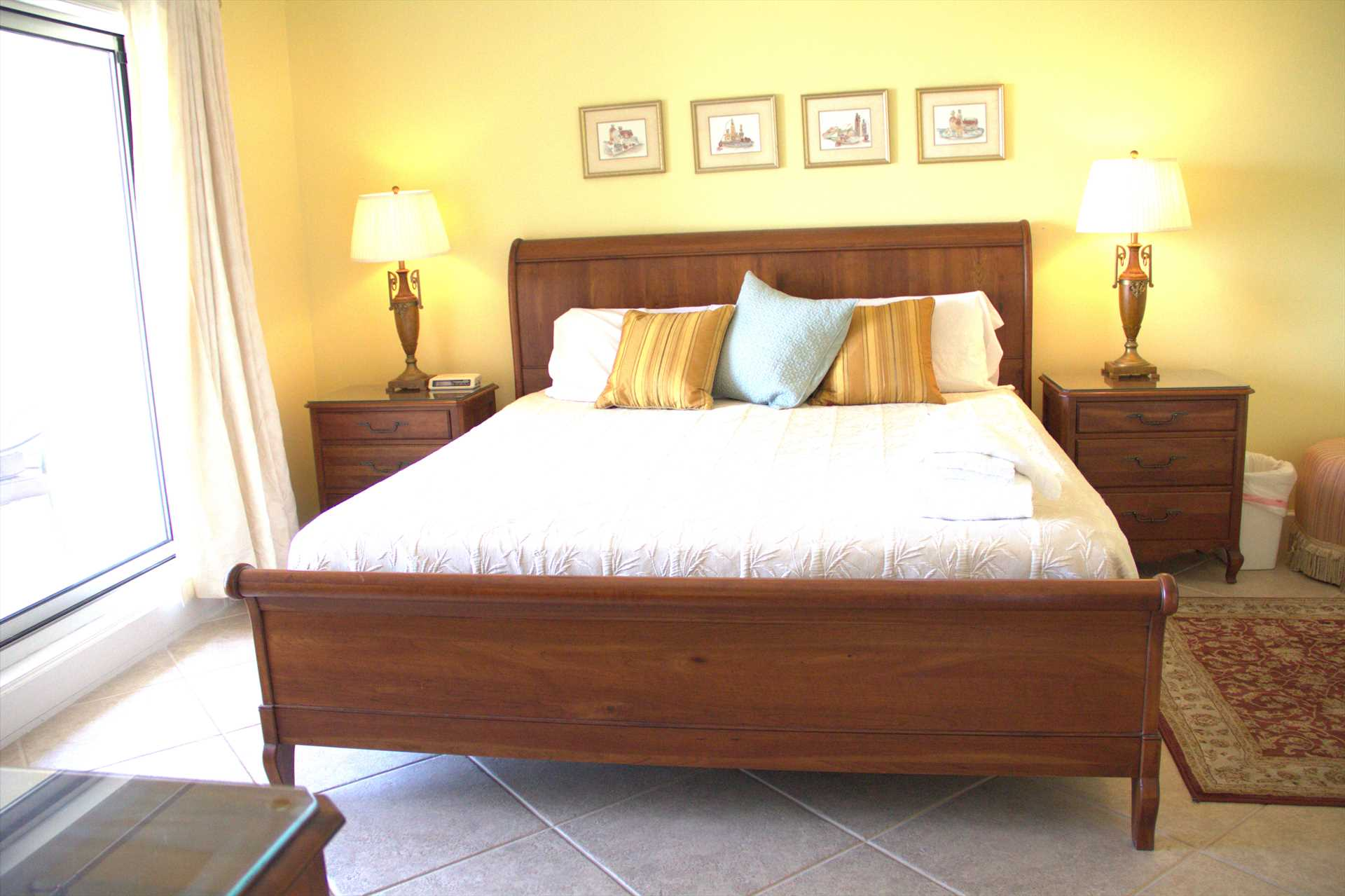 The bed in the master bedroom is a king