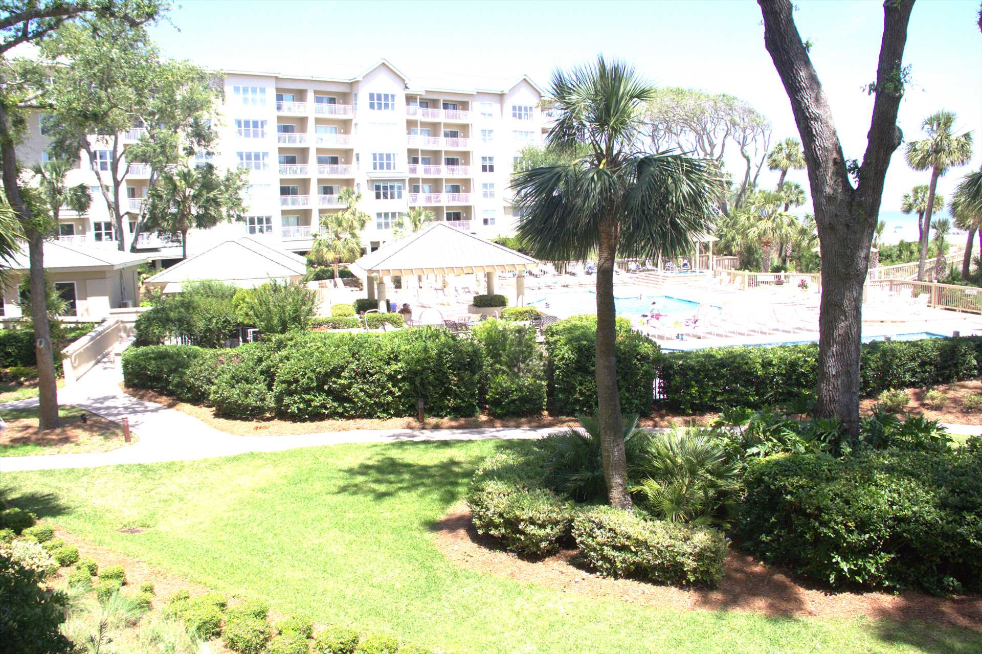 You see the pool from your balcony