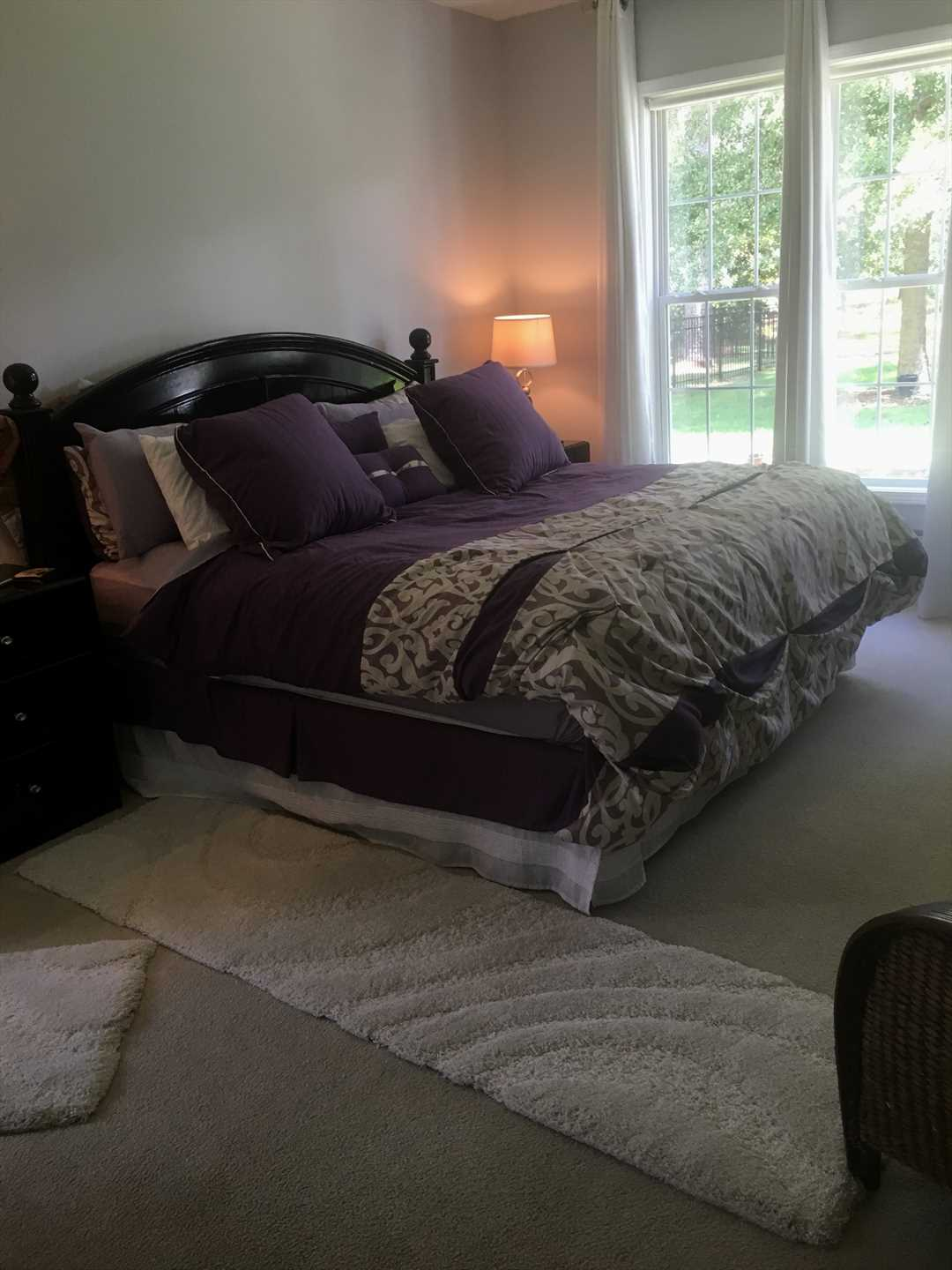 The master bedroom is located on the 1st floor