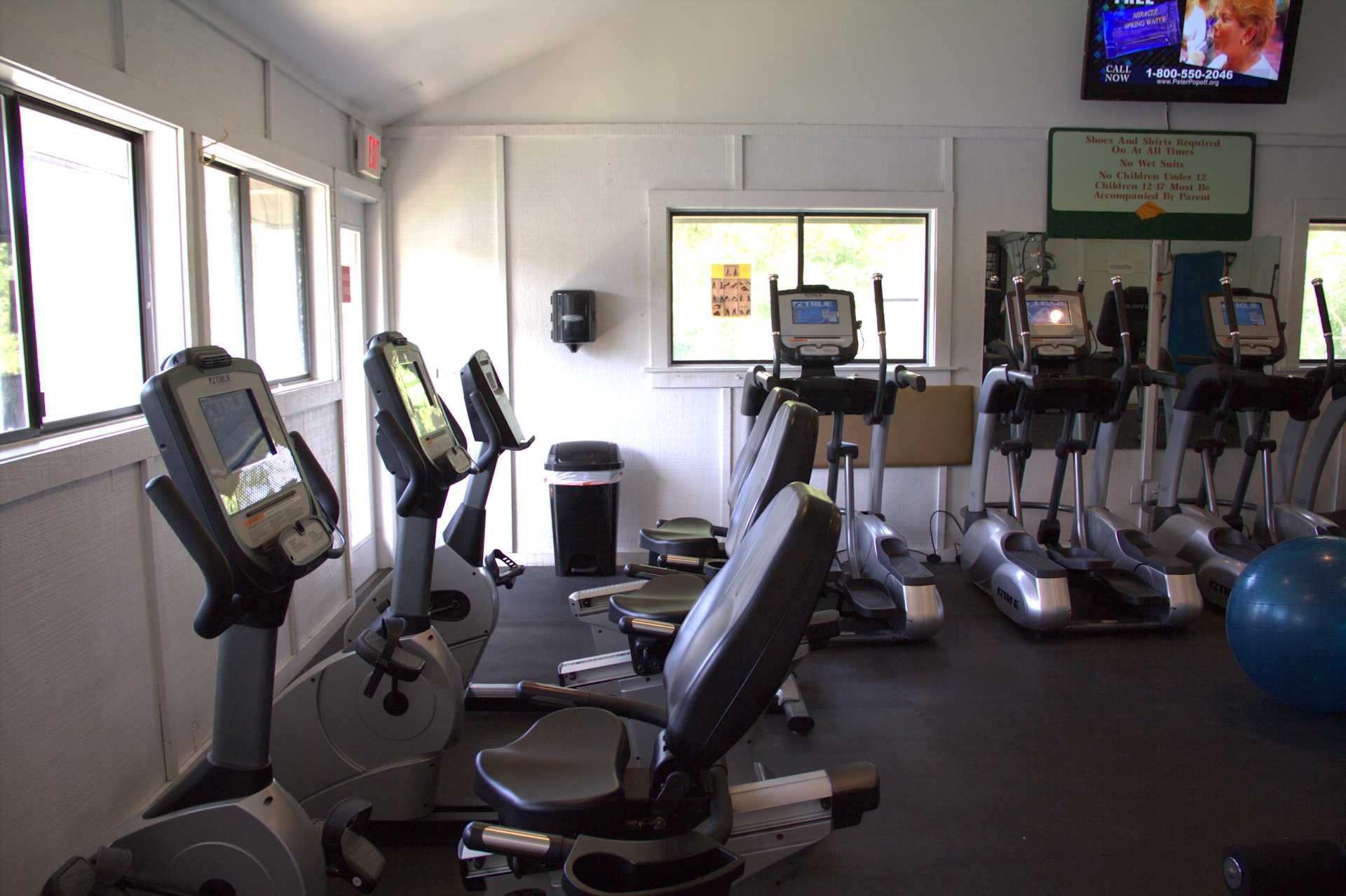 the exercise room has upgraded equipment