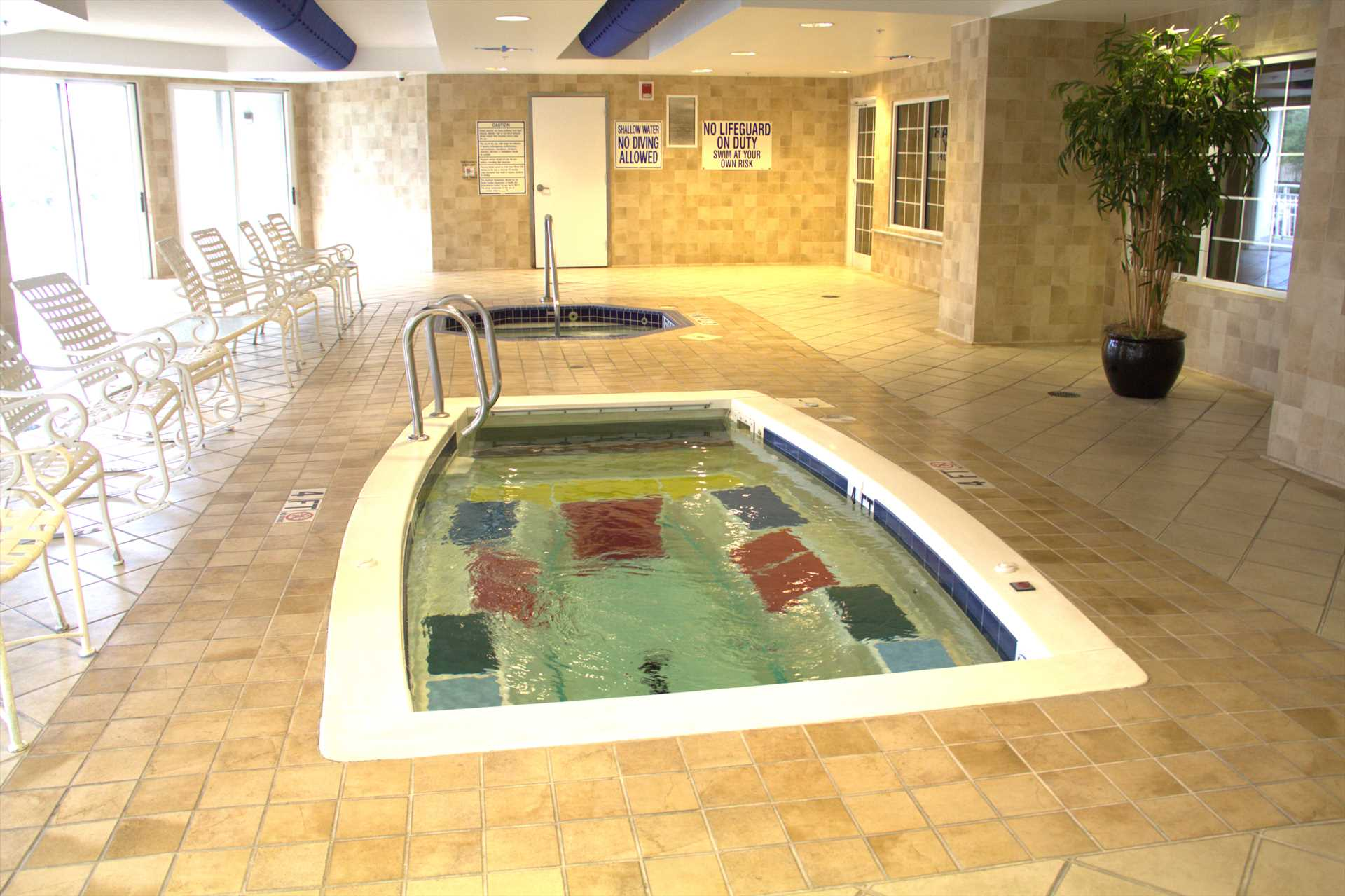Inside lap pool